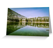 first snow at the mountain lake Greeting Card