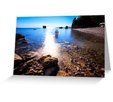 summer day at the beach in the gulf of Trieste Greeting Card