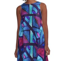 Abstract in Red and Blue A-Line Dress