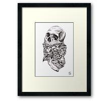 Skull and rose Framed Print