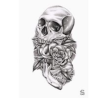 Skull and rose Photographic Print