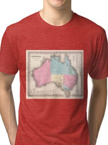 Vintage Map of Australia (1855) Tri-blend T-Shirt