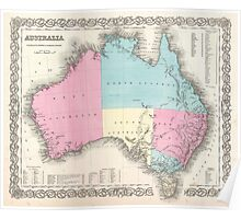 Vintage Map of Australia (1855) Poster