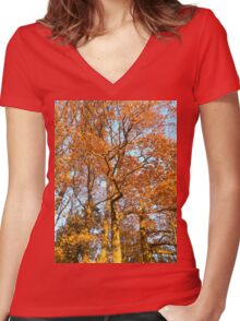 Sunny Autumn Women's Fitted V-Neck T-Shirt