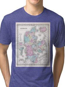 Vintage Map of Denmark (1855) Tri-blend T-Shirt