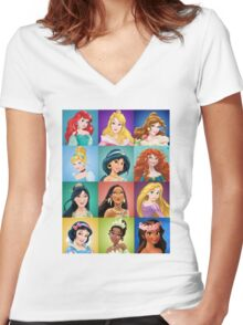Funny Cute Princess Women's Fitted V-Neck T-Shirt