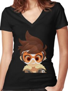 Overwatch Tracer Women's Fitted V-Neck T-Shirt