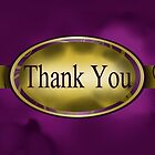 Purple & Gold Floral Button Thank You Card by treasured-gift