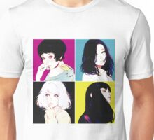 Four Ladies drawing with neon style background Unisex T-Shirt