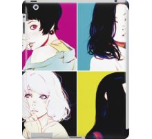 Four Ladies drawing with neon style background iPad Case/Skin