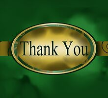 Green & Gold Floral Button Thank You Card by treasured-gift