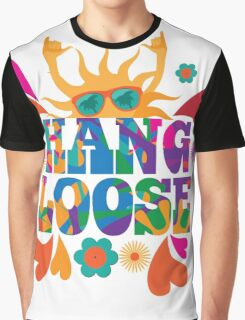 Hang loose 1960s mod pop art psychedelic sun giving the shaka surf hand sign design. Graphic T-Shirt