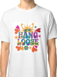 Hang loose 1960s mod pop art psychedelic sun giving the shaka surf hand sign design. Classic T-Shirt