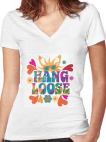 Hang loose 1960s mod pop art psychedelic sun giving the shaka surf hand sign design. Women's Fitted V-Neck T-Shirt