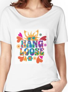 Hang loose 1960s mod pop art psychedelic sun giving the shaka surf hand sign design. Women's Relaxed Fit T-Shirt
