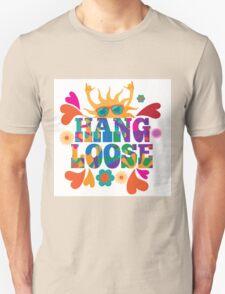 Hang loose 1960s mod pop art psychedelic sun giving the shaka surf hand sign design. Unisex T-Shirt