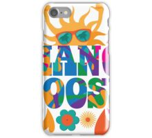 Hang loose 1960s mod pop art psychedelic sun giving the shaka surf hand sign design. iPhone Case/Skin
