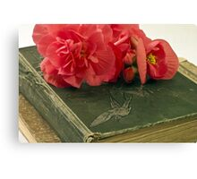 Begonias On Vintage Books Canvas Print
