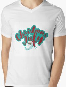 Christmas in July typography with cartoon Santa  Mens V-Neck T-Shirt