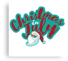 Christmas in July typography with cartoon Santa  Canvas Print