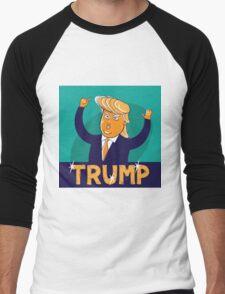 cartoon of USA Republican presidential candidate Donald Trump Men's Baseball ¾ T-Shirt