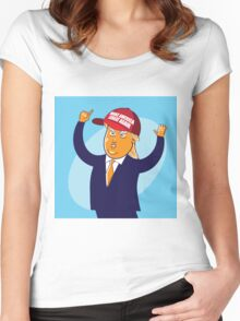 cartoon of USA Republican presidential candidate Donald Trump Women's Fitted Scoop T-Shirt