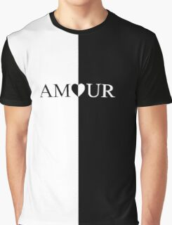 AMOUR black and white design Graphic T-Shirt