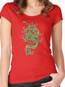 Chinese Tattoo Dragon Women's Fitted Scoop T-Shirt