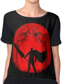 Black Swordsman Under a Red Moon Chiffon Top