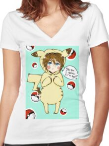 pika-cute Women's Fitted V-Neck T-Shirt