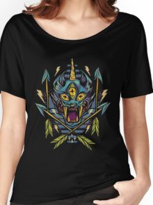 Trippy brutal cat drawing art Women's Relaxed Fit T-Shirt