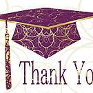 Purple & Gold Floral Cap Thank You Card by treasured-gift