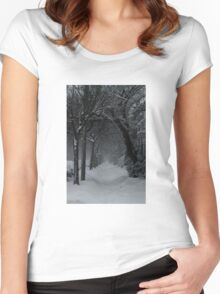 Winter Scene in Montreal Women's Fitted Scoop T-Shirt