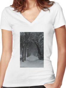 Winter Scene in Montreal Women's Fitted V-Neck T-Shirt