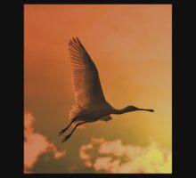 Spoonbill Stork - Sunset Flight of Color - African Wild Birds One Piece - Short Sleeve