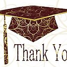 Maroon & Gold Floral Cap Thank You Card  by treasured-gift