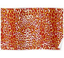 Coral an Red Cheetah Pattern Poster