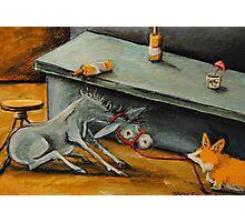 Donkey~Pemroke Welsh Corgi~Dog Drags Jackass out of Bar~Beer Photographic Print