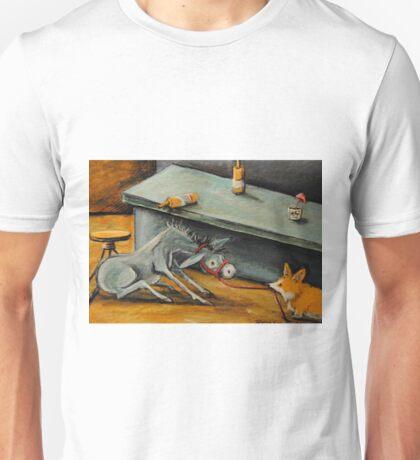 Donkey~Pemroke Welsh Corgi~Dog Drags Jackass out of Bar~Beer Unisex T-Shirt