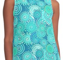 Fractal Swirl Pattern, Shades of Turquoise Contrast Tank