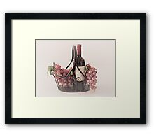 Basket of Wine and Fruit Framed Print