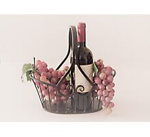 Basket of Wine and Fruit Photographic Print