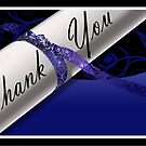Blue & White Diploma Thank You Card by treasured-gift