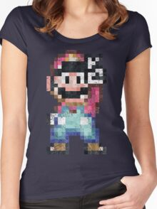 Mario World Vintage Pixels Victory Women's Fitted Scoop T-Shirt