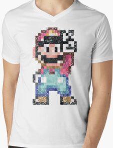 Mario World Vintage Pixels Victory Mens V-Neck T-Shirt