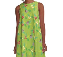 Background berry green A-Line Dress