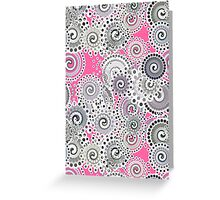 Fractal Swirl Pattern, Pink and Grey Greeting Card