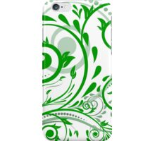 Green leaves with abstract swirls iPhone Case/Skin