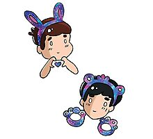 Dan and Phil Galaxy Bear and Bunny  Photographic Print
