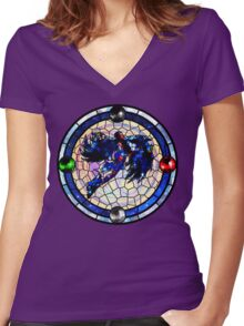 Bayonetta 2: Stained Glass  Women's Fitted V-Neck T-Shirt